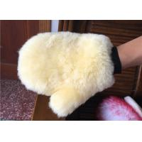 Cheap Lambswool Cleaning Mitt For Car Washing , Short Hair Sheepskin Wash Mitt  for sale
