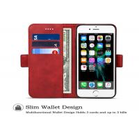 China 7*4.2*1 Inches Genuine Leather Phone Case With Stand Holder , Wallet Design on sale