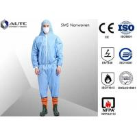 Best Non Woven Chemical Protective Clothing Full Face Two Way Zipper Bound Seams wholesale