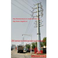 China 220KV transmission line umbrella type double circuit 60°angle thin wall concrete steel pol on sale