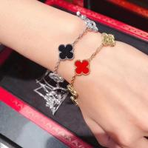 Best Custom 18K White Gold Diamond Van Cleef Vintage Alhambra Bracelet 5 Motifs brand jewelry china wholesale