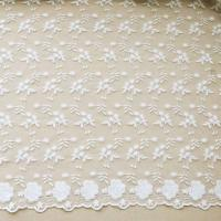 "Best 51"" Width Floral Embroidered Nylon Mesh Lace Fabric For Curtain / Clothing wholesale"