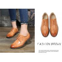 Best Plain Color Full Brogue Shoes , Derby Style Womens Leather Wingtip Oxfords wholesale