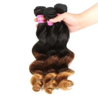 Best Peruvian Hair Loose Wave 3 Tone Ombre Hair Weave 1B / 4 / 27 Blonde Hair wholesale