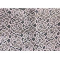 Cheap Water soluable golden Embroidered Rose guipure Lace Fabric Textile Design 90% Nylon 10% Lycra Spandex Knitting for sale