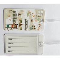 China Custom Full Color Print White Plastic Luggage Tags Travel Name Tag With Transparent String, Cheap Factory Price on sale