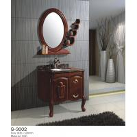China 24 Inch 48 Inch Solid Wood Bathroom Vanity One Door Two Drawer Circle Mirror Ceramic Basin on sale