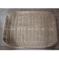 Reusable Crochet Floor Mats Loop Pile Knitted Floor Rug For Hotel / Restaurant