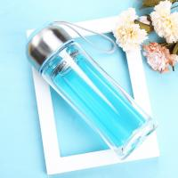 Best Blue / Black Double Wall Glass Water Bottle Wide Mouth For Daily Drinking wholesale