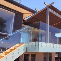 Best Frosted Glass Privacy Screens / Frameless Glass Railing with Standoffs wholesale