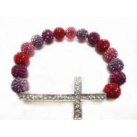 Best Fancy Plating Red Rhinestone Handmade Beaded Bracelet With Sideways Cross wholesale