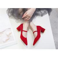 Best Ted Grey Comfortable Trendy Shoes Vintage Suede Mary Jane Heels With Leather Strap wholesale