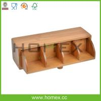 Quality High quality flip type bamboo tea case with 4 compartments/HOMEX-FSC,FDA.SGS.LFGB,BSCI wholesale