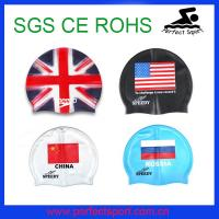 Cheap Various color national flag silicone swimming caps for sale