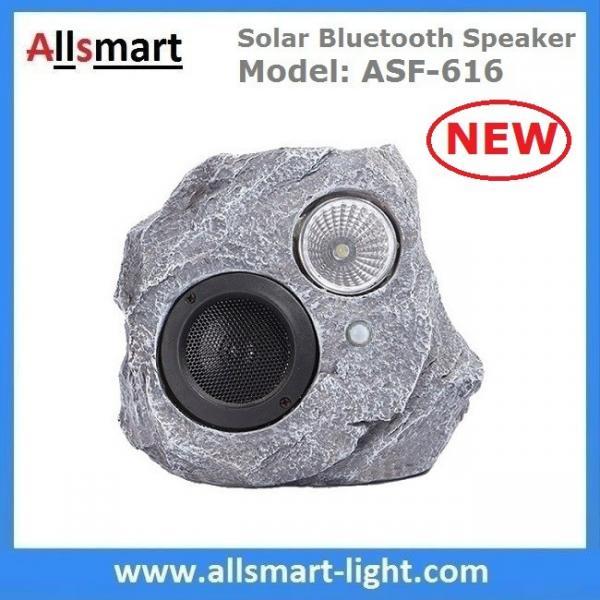 Cheap Solar Bluetooth Speaker Resin Stone loudspeaker Lamp PIR Motion Sensor Lighting for Outdoor Garden Patio Backyard Park for sale