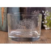 Best 12Oz Round Shape Decal Glass Candle Jar For Decor , In Stock Glass Votive Candle Holders wholesale