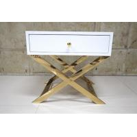 Best White Painted Gold Hotel Bedside Tables With Polished Metal Base , 60% Sheen wholesale