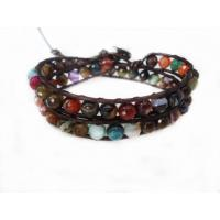 Best Two Layer Multicolor Stone Beads Bracelet, Custom Leather Bracelets For Couples wholesale