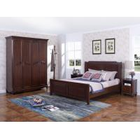Best Rubber Wood Furniture Thailand solid wood King/Queen Bed in Leisure American style with Nightstand and Wardrobe wholesale