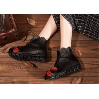 Best low heel fashion womens ankle boots with flower , black leather ankle boots wholesale