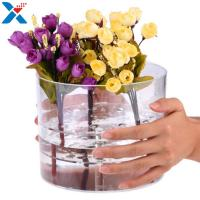 Buy cheap Waterproof Acrylic Flower Box Makeup Organizer Holder Round Shape ROHS Approval from wholesalers