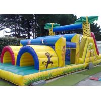 Best Jungle Theme Inflatable Obstacle Course Plato 0.55 Mm PVC Material wholesale