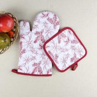 China Leaves Printed Heat Resistant Microwave Professional Oven Gloves Pot Holder on sale
