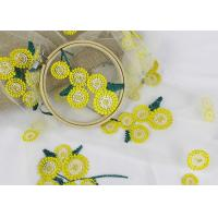 Best Beatiful Sunflower 3D Embroidered Lace Fabric For Wedding Garment Decoration wholesale