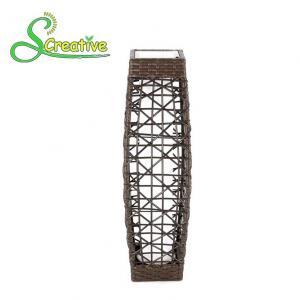 Best LED Tall Rattan Style Solar Lights Floor Lamp For Garden Patio Landscape Decorative wholesale