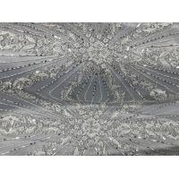 Best Beautiful Silver Embroidered Heavy Beaded Lace Fabric , Beaded Net Fabric 130cm Width wholesale