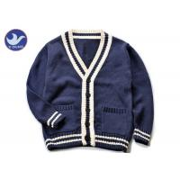 Best Cotton Stripes Collar Boys Navy Blue Cardigan Sweater , Boys Knitted Cardigan wholesale