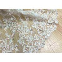 Best Delicate Ivory Corded Lace Fabric , Floral White Embroidered Tulle Fabric For Wedding Dress wholesale