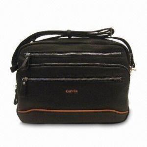 China 12-inch Laptop/Netbook Bag, Made of Natural Shrunken Leather, with Adjustable Shoulder Strap on sale