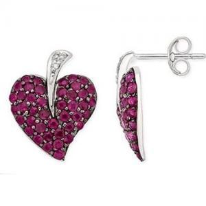 Best Earring Ruby & Diamond White Gold Earrings wholesale