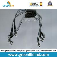 Best Transparent Black Color 0.5MM Stee Core Coated 2'' TUP Elastic Coiled Tether with Lobster Clip 2pcs wholesale