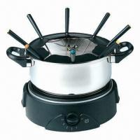 Deluxe electric fondue set with stainless fondue pot