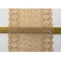Best 19 CM Champagne Wide Heavy Guipure Lace Trim With Scallop Edging / African Cord Lace wholesale