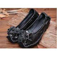 Best Women's Flat retro flowers Comfortable Trendy Shoes ladies black loafers wholesale