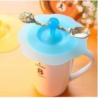 Best china supplier silicone cup cover with spoon holder wholesale