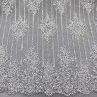 Best Floral Corded Embroidered Sequin Lace Fabric For Bridal Gowns Dresses wholesale