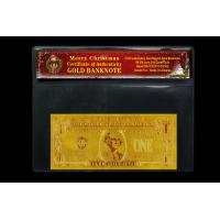 Best 24k Gold USD1 Dollar Banknote Bill Certificate of Authenticity With Chrismas COA Best For Gift wholesale