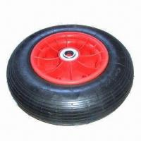 Best 400-8 Pneumatic Wheel with Plastic Rim, Ball Bearing, Line Pattern wholesale