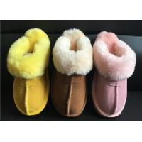 Best Ladies Genuine Sheepskin Slippers Mules Non Slip Hard Sole Womens winter Warm Slippers wholesale