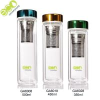 Best 500ml Eco - Friendly Bamboo Drink Bottle Thermo Double Walled Glass Tea Infuser Water Bottle wholesale