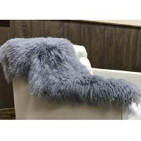 Best Grey Long Curly Hair Mongolian Sheepskin Rug Living Room With 2*4 Feet Size wholesale