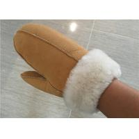 Best Women Hand Sewing Warmest Sheepskin Gloves , Suede Leather Mittens wholesale