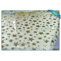 Best Diposable Golden Star Printed Non woven Tablecloth Roll / Piece For Christmas Decoration wholesale