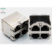 China 2 x 2 Ports Stacked RJ45 Connectors Shielding Through Hole Type Multi Port RJ45 on sale