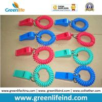 Best Red/Blue Plastic Wrist Band Coil Loop with Plastic Alerting Whistles wholesale
