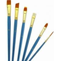 Best Wooden Handle Golden Synthetic Paint Brush Sets , Interlocked Fine Bristle Paint Brushes wholesale